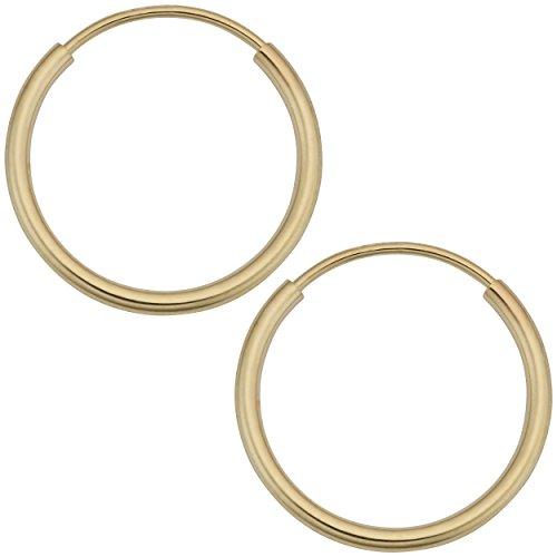 - Kooljewelry 14k Yellow Gold 1 mm Thick 12 mm Round Tube Endless Hoop Earrings
