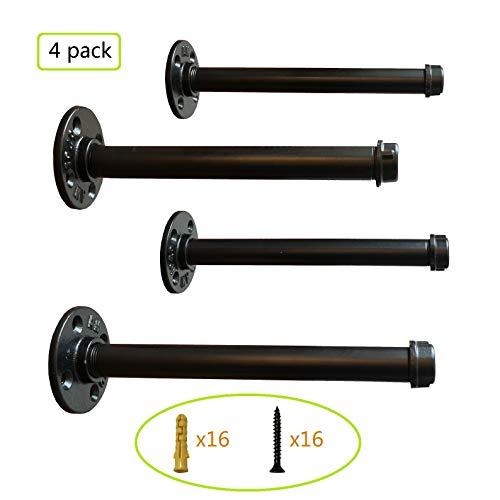 Pipe Decor Shelf Brackets 12 Inch,Rustic Style Industrial Floating Shelf Bracket, Heavy Duty Industrial Pipe Shelf Brackets, Coated Finish.(4 Pack) ()