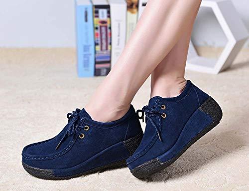 GLSHI Women 2018 Seasons Flat Casual Lightweight New Blue Loafer Sneakers 6P6Or