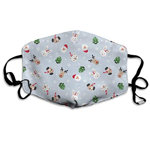 Reusable Polyester Mouth Mask Santa and Cute Dog Healthy Safety Warm Windproof Anti Dust Half Face Mouth Mask Dustproof with Adjustable ()