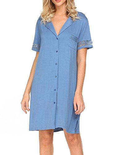 2eaea4eda6 Hotouch Women Short Sleeve Nightshirts Button Down Lapel Sleep Shirt Pajama  Top Dress Sleepwear Blue