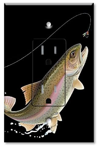 Printed - Tamper Resistant Electrical Outlet with matching Wall Plate - Leaping Fish (black) - Leaping Fish
