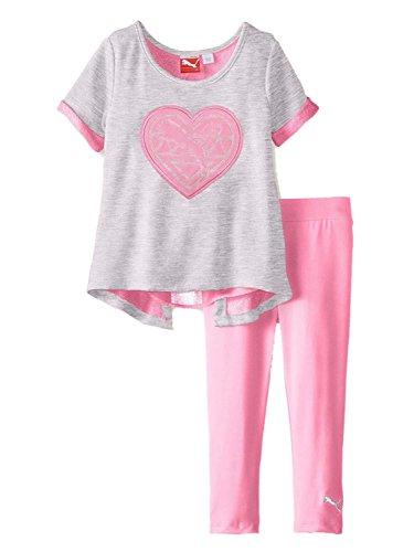 PUMA Baby Girls' Open Back Double Knit Set, Grey Heather, 12 Months