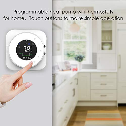 Smart Wifi Thermostats for Home(2019 Update)-24V Heat Pump Programmable  Thermostat Compatible with Alexa Google Home,Digital Wireless Thermastate  for