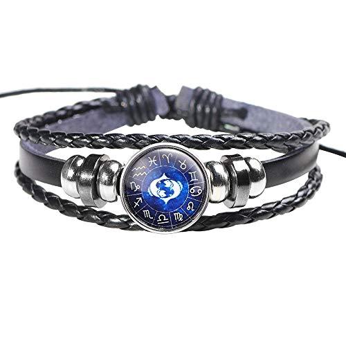 - VOWUA Bracelet Unique Design Men Women Constellation 12 Zodiac Sign Bracelets Punk Woven Leather