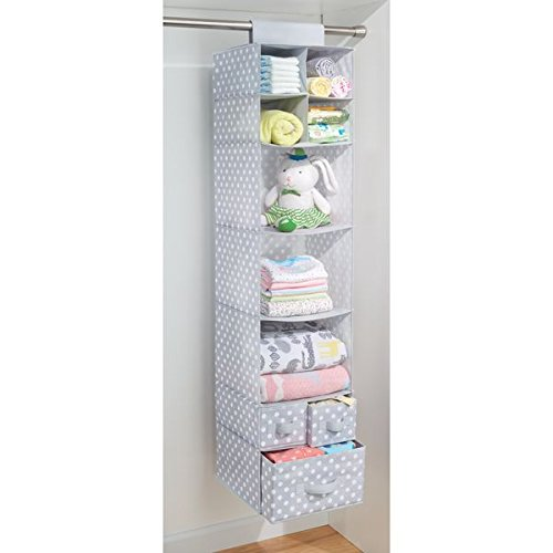 mDesign Soft Fabric Over Closet Rod Hanging Storage Organizer with 7 Shelves and 3 Removable Drawers for Child/Baby Room or Nursery � Polka Dot Pattern, Light Gray with White Dots