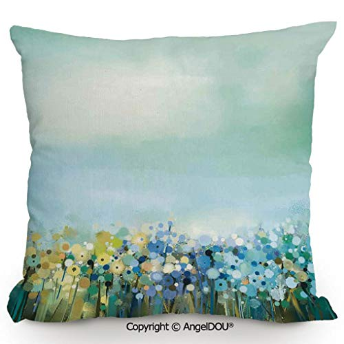 (AngelDOU Pillow Cotton Linen Cushion,Aqua Impressionist Field Paint with Blooms Tranquil Concept,Coffee Shop Restaurant Sofa Company Gifts.19.6x19.6 inches)