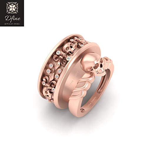 5ad38330b46d Amazon.com  Solid 10k Rose Gold Diamond Matching Skull Engagement Ring  Wedding Band Set For Couple Skull French Flower Band  Handmade