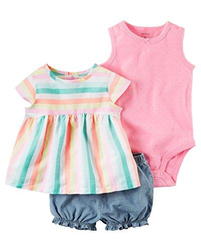 (William Carter Baby Girl Clothes 3 Piece Bubble Shorts Diaper Cover Set Multi Stripe/Denim 18M)