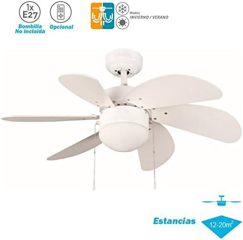 ELS Ventilador Techo Modelo Tabit Blanco Motor AC 6 Palas 1xE27: Amazon.es: Hogar