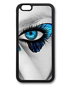 iPhone 6 Plus Case, iCustomonline Blue Butterfly Eyes Shell Soft Back Case Cover Skin for iPhone 6 Plus 5.5 inch - Black