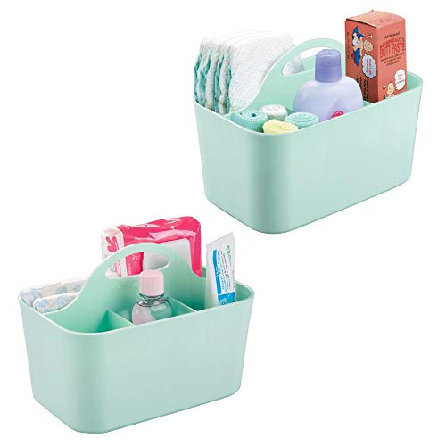 mDesign Nursery Storage Caddy Divided Bin - BPA Free - 4 Section Tote with Built-in Handle for Organizing Bottles, Spoons, Bibs, Pacifiers, Diapers, Wipes, Baby Lotion - Pack of 2, Mint from mDesign