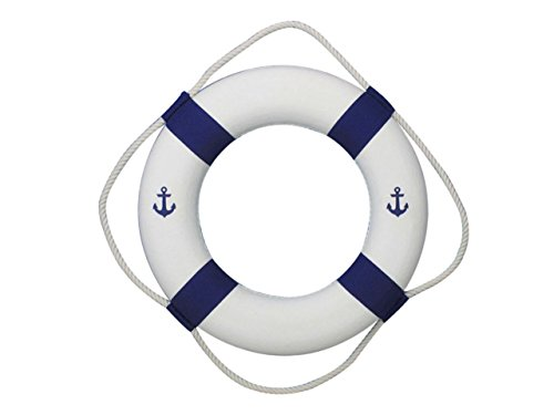 (Hampton Nautical  Classic White Decorative Anchor Life Ring with Blue Bands, 20
