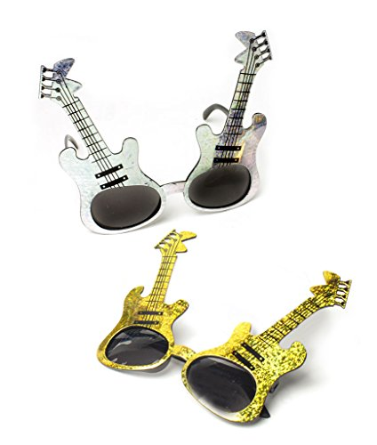 Rock N Roll Glasses - Fun Central AT797 12ct Glitter Guitar Sunglasses, Fun Party Sunglasses - for Rock 'n Roll Party, Birthday, Music Festival, Christmas, Party Favor, Rewards, Prizes Assorted