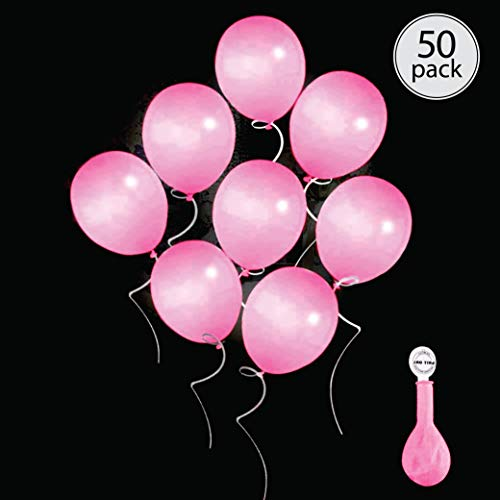 Pink Led Balloons (50 pack pink LED light up round balloons. Premium latex. Lights 12-24 hours. Glow in the dark. Great supplies decorations for wedding, birthday parties, dance party. Helium & Air. (Globos)