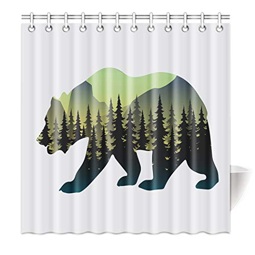 TSlook Shower Curtain Polyester Bear Silhouette Pine Forest Tree 36