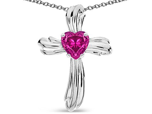 Star K Heart Shape 6mm Simulated Pink Tourmaline Ribbed Cross Of Love Pendant Necklace 14k White Gold