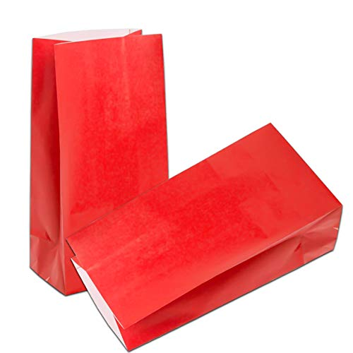 KIYOOMY 100 CT Small Paper Bags Red Party Favor Paper Gift Bags School Snack Bags for Wedding Shower Kids Birthday Party