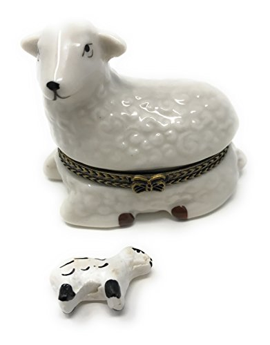 Porcelain Lamb Hinged Lid Trinket Box with Tiny Trinket Inside, 2.5 Inches (Porcelain Favor Box)