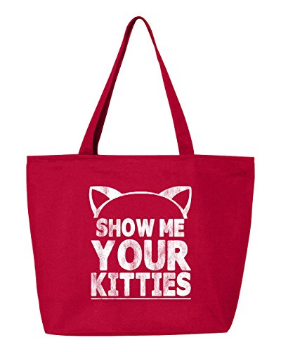 Shop4Ever Show Me Your Kitties Heavy Canvas Tote with Zipper Cat Reusable Shopping Bag 12 oz Red -Pack of 1- Zip