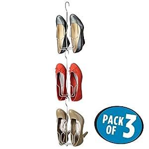 Mdesign perchas para zapatos juego de 3 pr ctico for Perchas para colgar botas