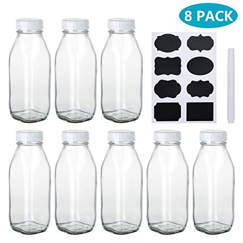 Vintage Juice Glass - Encheng 17 oz Glass Bottle with Lids,Clear Milk Bottles with Plastic Caps,Vintage Drinking Bottles for Party,Kids Breakfast,Beverage Bottles for Storing Juice,Water with Chalkboard Labels,Pen,8 Pack