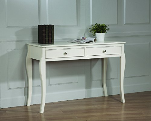 Coaster Home Furnishings Dominique Modern Traditional Youth Two Drawer Cabriole Leg Writing Office Desk - White