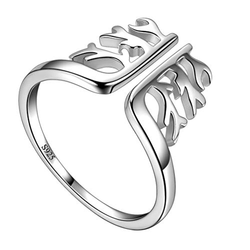 Tree Branch Engagement Ring (Besilver Family Tree of Life Adjustable Ring for Men Women 925 Sterling Silver Promise Anniversary Ring Tree Branch Amulet Engagement Wedding Band Ring)