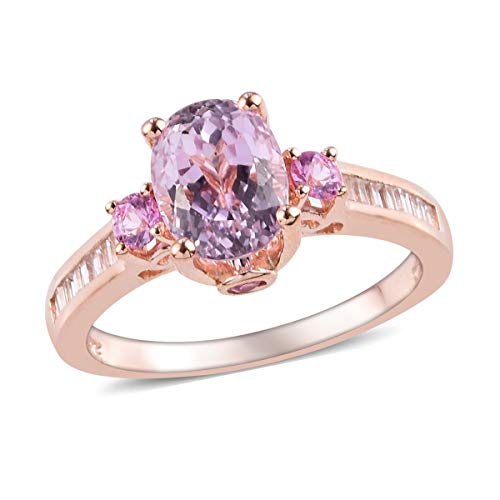 Promise Ring 925 Sterling Silver Vermeil Rose Gold AA Premium Kunzite Pink Sapphire Jewelry for Women Size 6 Ct 2.8