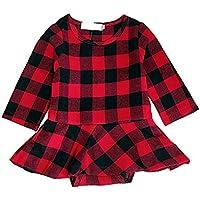 Zukuco Baby Girls Christmas Romper Plaid Dress Long Sleeve Ruffle Romper Dress