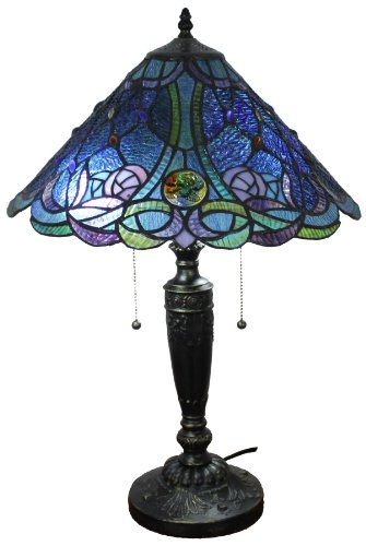 Amora Lighting AM1102TL16 BLUE Tiffany Style Table Lamp 24 In ...