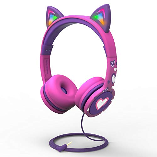 FosPower Kids Headphones with LED Light Up Cat Ears 3.5mm On Ear Audio Headphones for Kids with Laced Tangle Free Cable (Max 85dB) – Hot Pink/Purple