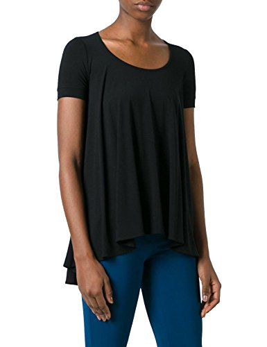Top Pleat Drape Back (BMJL Women's Casual Short Sleeve Scoop Neck Pleated Trim T-shirt Blouse Tops Black)