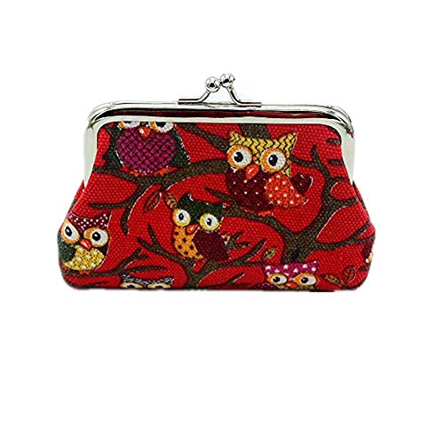 Coin Purse, Mikey Store Women Lady Retro Vintage Owl Small Wallet Hasp Purse Clutch Bag (Red)