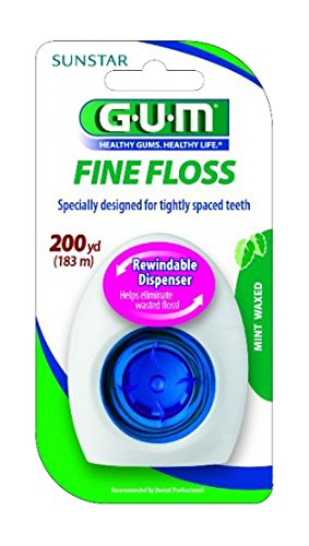 - GUM Fine Waxed Dental Floss, Rewindable Dispenser, Mint, 200 Yards
