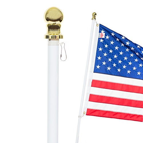 Front Line Flags Flag Pole: 6 Ft White Aluminum Flagpole | Spinning & Tangle Free | Heavy Duty | Wind Resistant and Rust Free Wall Mount Flagpole P/N FL6W