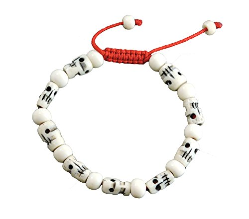 Tibetan Mala Carved Yak Bone Skull Wrist Mala/ Bracelet for Meditation BM-24 ()