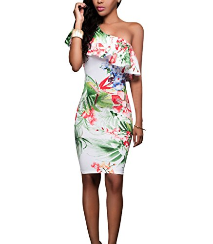 PRETTYGARDEN Women's One Off Shoulder Floral Printed Ruffle Chest Bodycon Midi Dress (X-Large, Style 2)