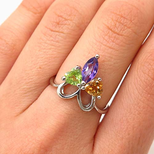 925 Sterling Silver Real Multi-Color Gemstone Heart Ribbon Ring Size 6.5 Jewelry by Wholesale Charms ()