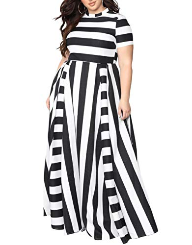 (Women Plus Size Dresses for Party Fashion Round Neck Black and White Stripe midi Waist Short Sleeve Dress Floor Length Dress for Ladies (Black XL))
