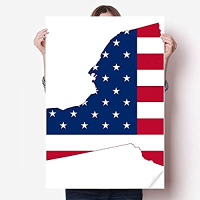DIYthinker New York USA Map Stars Stripes Flag Shape Vinyl Wall Sticker Poster Mural Wallpaper Room Decal 80X55cm
