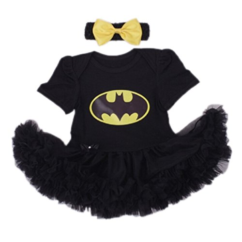 Baby's All in 1 Fancy Dress Halloween Christmas Princess Party Romper Suits (L (6-12 Months), Batgirl-Black)