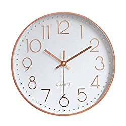 Fanyuanfds Modern Wall Clock,Silent Non-Ticking Quartz Decorative Battery Operated Wall Clock for Living Room Home Office School Plastic Frame Glass Cover Decorative Wall Clock (12-Inch Wall Clock)