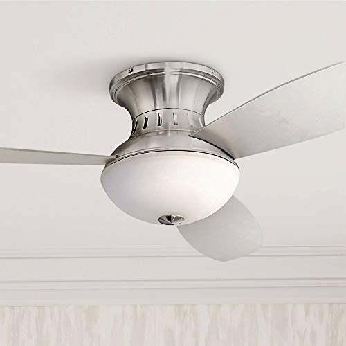 """52"""" Encore Modern Hugger Low Profile Ceiling Fan with Light LED Remote Control Brushed Nickel White Frosted Glass for Living Room Kitchen Bedroom Dining - Possini Euro Design"""