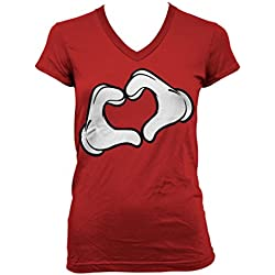 Cartoon Glove Heart Junior Ladies V-neck T-shirt (Red, X-Large)