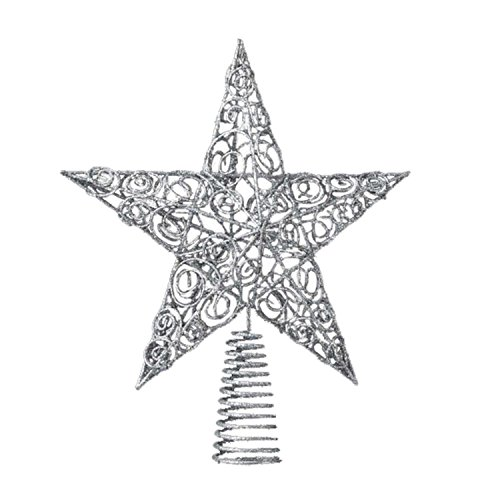12 Sparkling Whites Silver Glitter Drenched Wire Filigree Star Christmas Tree Topper - Unlit 10""