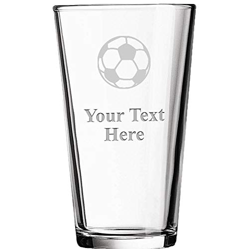 Personalized Beer Glasses, Laser Engraved Custom Pint Glass, Customized Soccer Ball Soccer Coach Gift ()