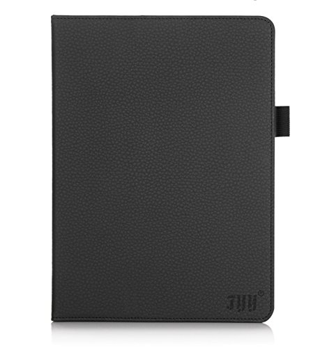 [Luxurious Protection] FYY Premium Leather Case Stand Cover with Card Slots, Pocket, Elastic Hand Strap and Stylus Holder for Polatab Elite Q10.1 Black