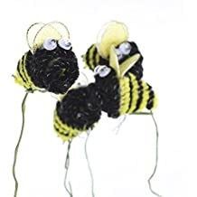 30 Individual Adorable Chenille Bumble Bees on Wire Stems for Crafting, Designing and Embellishing