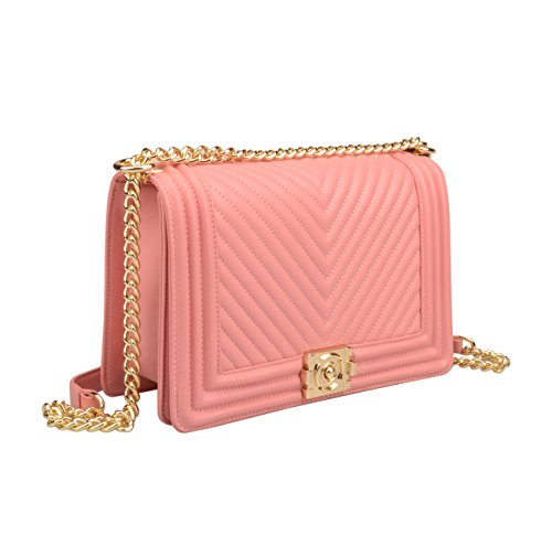 Handbags Bag Hobo Strap Pink Ainifeel Chain Crossbody gold Genuine Leather Hardware Quilted Women's w8ggfqYB